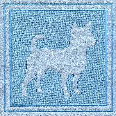 Chihuahua Dog Embossed  White Hand Towel Set Embroidered0