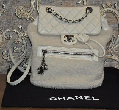 87ac8e9cf5ce Authentic CHANEL Paris-Salzburg Mountain Shearling Quilted Calfskin Backpack