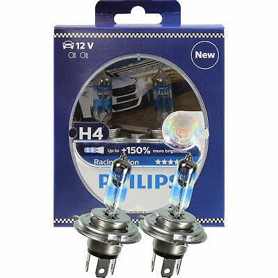 10x Philips Racing Vision H4 12V 60/55W P43t +150% 2 Stück Set Birne 12342RVS2
