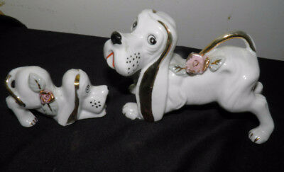 Vintage Japan HOUND DOG Figurines Set 2 White Gold with Roses Coon Fox Basset