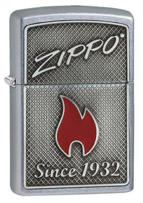 Zippo Windproof Chrome Lighter,  Zippo Logo & Flame Emblem, 29650, New In Box