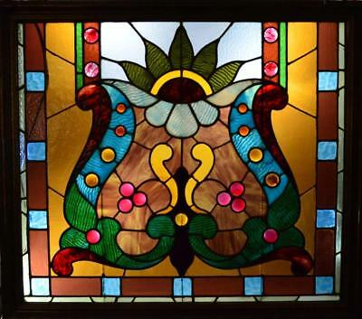 Superb Antique Jeweled Stain Glass Window No Reserve