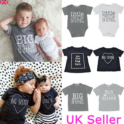 Little/Big Brother Sister Baby Boy Girl Kids Romper T-shirt Tops Matching Outfit