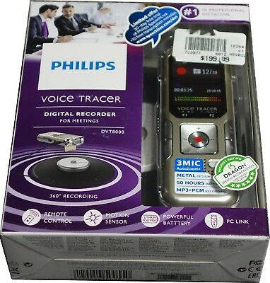 Philips DVT8000 4GB Voice Tracer Digital Recorder Mic stereo/Meeting/Interview