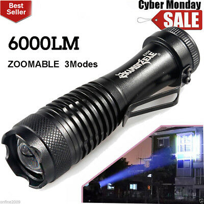 6000LM Q5 LED 3Modes AA/14500 ZOOMABLE Flashlight Torch Lamp Super Bright