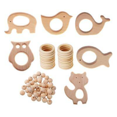 76 Pcs Unfinished Natural Wooden Rings DIY Maple Wood Necklace Teething Ring