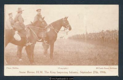 Anzac Revue, H.M. The King Inspecting Infantry, September 27th 1916 Postcard