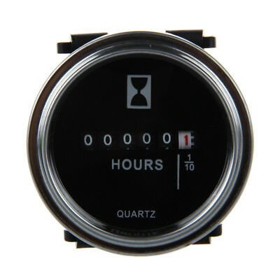 Hour Meter 6 to 80 Volts DC - Round Silvery Trim Ring G3N2