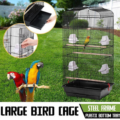 Large Metal Bird Cage Budgie Perch Canary Finch Cockatiel Parrot Aviary 92CM