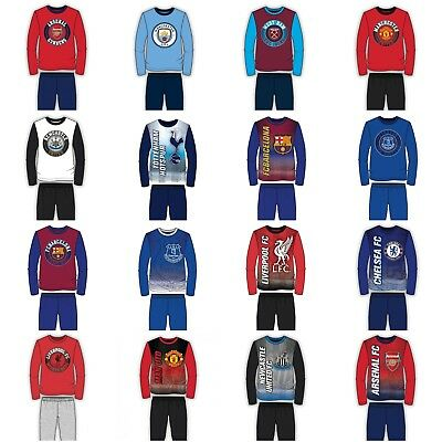 New Official Football Pjs Pyjamas Nightwear Kids Boys Girls Ages 2 - 12 Years