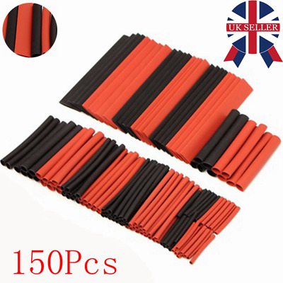 150 Pcs Red&Black Heat Shrink Tubing Tube Cable Ratio 2:1 Sleeving Wire Wrap Kit