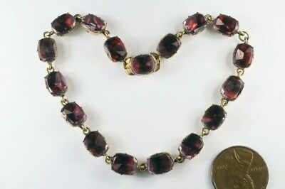 ANTIQUE GEORGIAN ENGLISH GILT & FOILED AMETHYST / GARNET PASTE BRACELET c1820