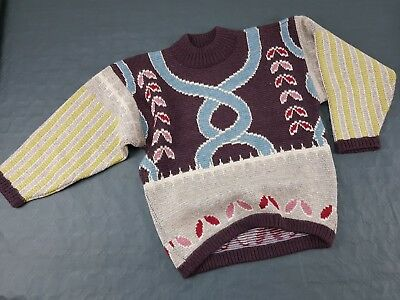 MAGLIONE OXBOW Surf Wear Jumper Multi Color Crazy Pattern Taglia S M