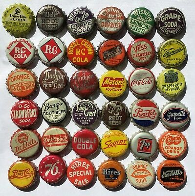 36 diff SODA POP CORK BACK BOTTLE CAP CAPS BIG TOP HIRES WISHING WELL DODGER