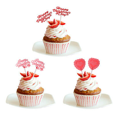 12x Valentine's Day Cake Topper Anniversary Engagement Party Favor Cupcake Picks
