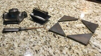 Antique Inkwell , Blotter, Letter Opener And 4 Corners To Desk Pad