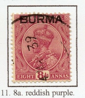 Burma 1937 GV Early Issue Fine Used 8a. Optd 228490