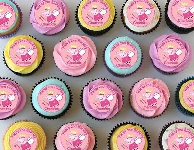 24 x PEPPA PIG Wafer Rice Paper EDIBLE Cupcake Toppers * PERSONALISED MESSAGE *