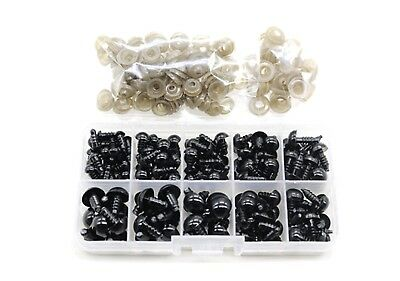 142Pcs 6to12 mm Plastic Safety Eyes Black  Eyes  Wahers for Teddy  Doll DIY WF