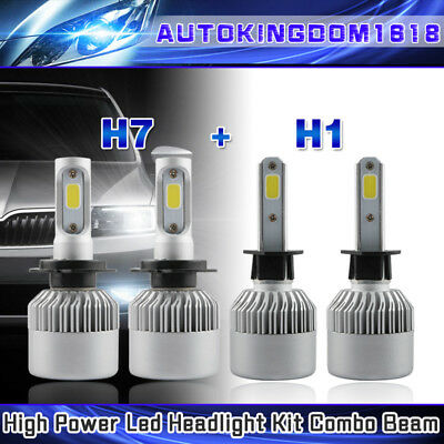 H7 + H1  Combo Headlight LED Kit High Low Beam Bulb for Hyundai Sonata 2002-08