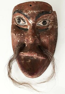 Antique Mexican Carved Wooden Working Dance Mask Leather Hair Guerrero Folk Art