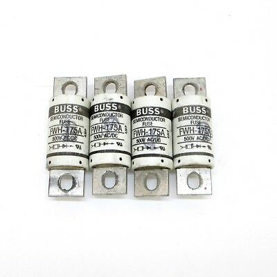 Lot of 4 Bussmann FWH-175A 175A/500V Semiconductor Fuses