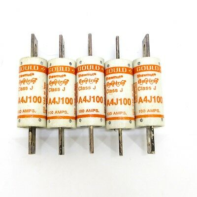 Lot of (5) Gould Shawmut A4J100 100A Fuses Class J 600V  Tested and working