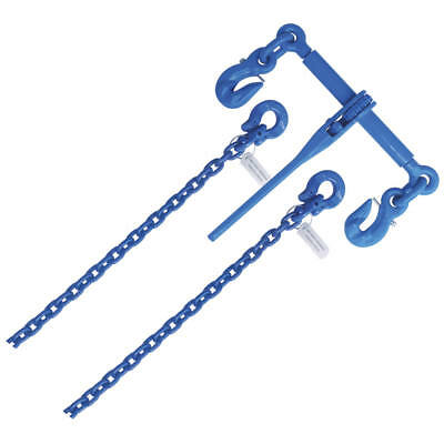 """Axle Tie Down Kits Grade 100 3/8"""" x 6' Axle Chain in Pair and 3/8"""" Binder"""