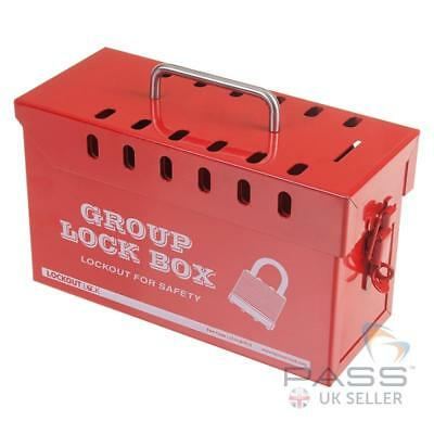LOTO Medium Red Portable Group Lockout Box - fits 13 Locks