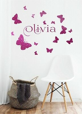 Butterflies wall art Stickers Exclusive Girls Personalised Name Pink Sparkle
