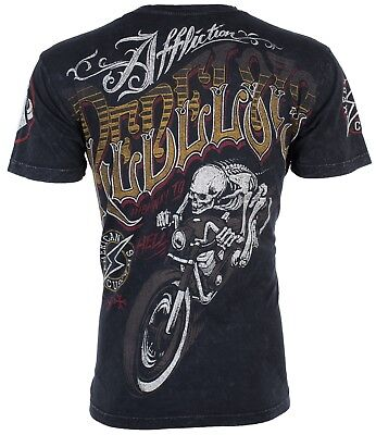 AFFLICTION Mens T-Shirt REBEL RIDERS American Customs Motorcycle Biker UFC $58