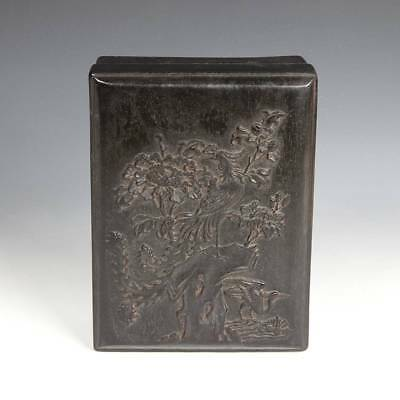 Antique Chinese Scholar's Calligraphy Ink Carved Stone Wood Case Crane Study
