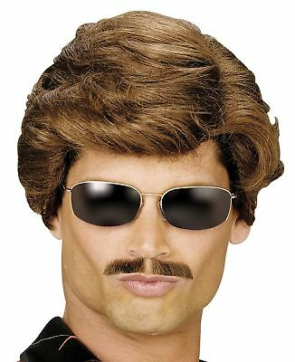 80s Mens Short Brown Wig Used Car Salesman Fancy Dress George Michael Adult YMCA