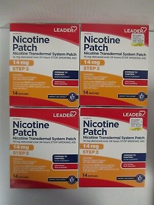 4 Leader Nicotine Patch - Stop Smoking Aid - Steps 2 - Exp: 2/19+  Rc 6069