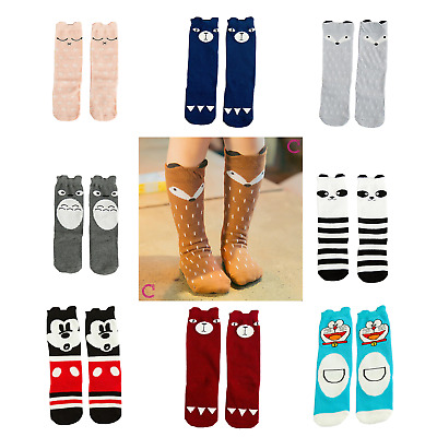 Cute Cartoon Fox Panda Cotton Knee High Socks for Baby, Children, Kids, Girls