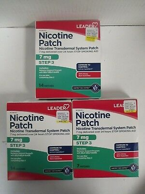 3 Leader Nicotine Patch - Stop Smoking Aid - Steps 3 - Exp: 3/18+  Rc 6070