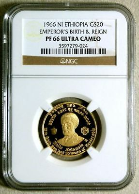 1966 Gold Ethiopia $20 Haile Selassie 1 Ngc Proof 66 Ultra Cameo