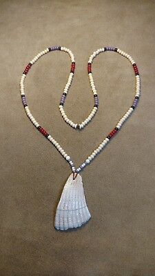 Shell Gorget & French Wampum Necklace Eastern Woodlands, Longhunter, Old Shell!