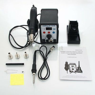 2 in 1 SMD Soldering Rework Station Hot Air & Iron 8786d Tips ESD Plcc BGA 110v