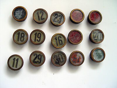 VINTAGE BRASS & GLASS EARLY 1900s CHICAGO ELEVATOR NUMBER BUTTON 15  PIECE LOT