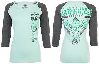 AMERICAN FIGHTER Womens T-Shirt LANDER GALAXY Athletic MINT GREY Biker UFC $40