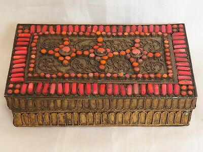 Antique Box Bronze Gilding Beads 1900 Ottoman Cigarette Handmade Decoration Old