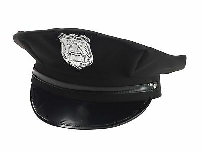 Black Police Hat Cap Man Policeman Cop Hat W/ Badge Adult Costume Adjustable