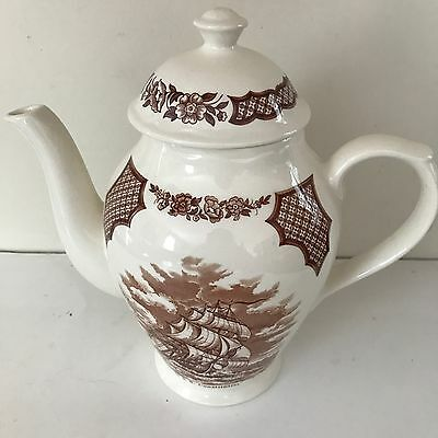 Fair Winds Original Copper Engravings Historical Scenes Teapot White Brown