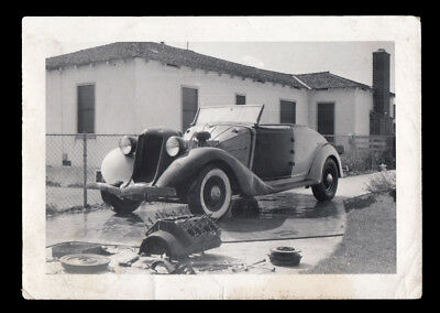 CHOPPED UP 1934 AUBURN HOT ROD CAR w GUTTED ENGINE~ 1940s VINTAGE PHOTO