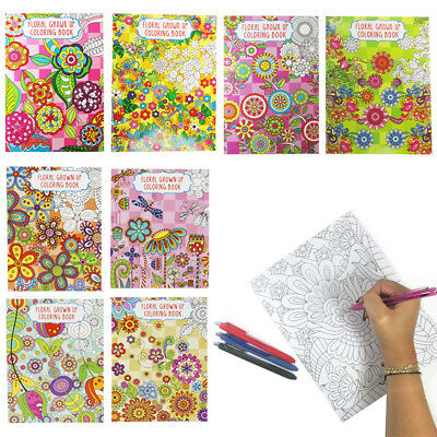 4 X Adult Coloring Books Calming Stress Relieving Relax Floral Designs Paperback