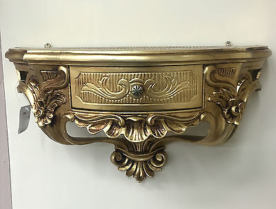 Wall Console with Drawer/Mirror Console/Wall Shelf Baroque Gold 50x27 Antique
