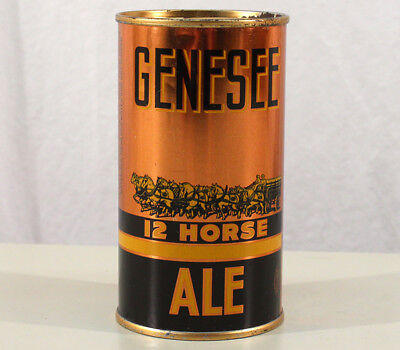 GENESEE 12 HORSE ALE •nonOI• SUPER CLEAN FLAT TOP BEER CAN ROCHESTER NEW YORK NY
