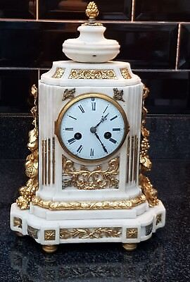 Antique French 19th c Gilt Bronze & Marble Mantel Clock