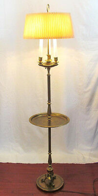 "ANTIQUE/VINTAGE FRENCH BOUILLOTTE BRONZE 3 CANDELABRA 51"" FLOOR LAMP with TRAY"